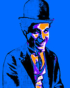 Laughing Digital Art Prints - Charlie Chaplin 20130212m145 Print by Wingsdomain Art and Photography
