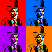 Square Sizes Metal Prints - Charlie Chaplin Four 20130212 Metal Print by Wingsdomain Art and Photography