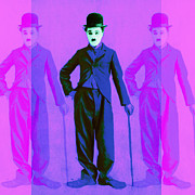 Movie Theater Prints - Charlie Chaplin The Tramp Three 20130216m108 Print by Wingsdomain Art and Photography
