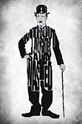 Celebrity Digital Art Framed Prints - Charlie Chaplin Typography Poster Framed Print by Ayse Toyran
