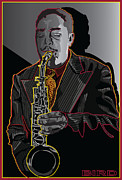 Music Legend Digital Art Framed Prints - Charlie Parker Jazz  Saxophone Legend Framed Print by Larry Butterworth