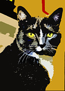 Cat Art Digital Art Prints - Charlie Print by Susan Stone