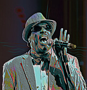 Microphone Digital Art Prints - Charlie Wilson Print by Byron Fli Walker