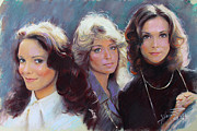 Angels Drawings Prints - Charlis Angels Kate Jackson Farrah Fawcett Jaclyn Smith Print by Viola El