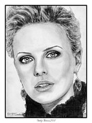 Star Drawings Posters - Charlize Theron in 2008 Poster by J McCombie