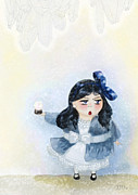 Dome Paintings - Charlotte and her snow dome by Miss M von Baron