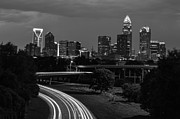 Charlotte Black And White Skyline Print by Robert Loe