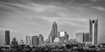 Charlotte Skyline Framed Prints - Charlotte Chrome Framed Print by Brian Young