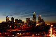 Charlotte Skyline Framed Prints - Charlotte Dusk Lights Framed Print by Paul Scolieri
