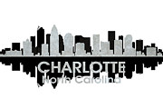 Charlotte Skyline Framed Prints - Charlotte NC 4 Framed Print by Angelina Vick