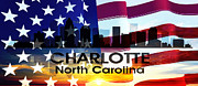 Charlotte Mixed Media Metal Prints - Charlotte NC Patriotic Large Cityscape Metal Print by Angelina Vick