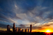 Charlotte Nc Photography Posters - Charlotte NC skyline with dramatic sky at sunset Poster by Patrick Schneider