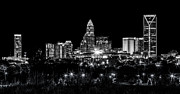 Charlotte Skyline Framed Prints - Charlotte Night Framed Print by Chris Austin