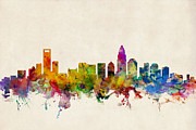 Charlotte North Carolina Posters - Charlotte North Carolina Skyline Poster by Michael Tompsett