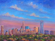 Uptown Painting Posters - Charlotte Skies Poster by Jeff Pittman