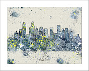 Boston Skyline Paintings - Charlotte Skyline by WaterColorMaps Chris and Mary Ann