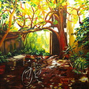 St. Augustine Paintings - Charlotte Street Courtyard by Caroline Conkin
