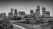 Charlotte Metal Prints - Charlotte Sunset Black and White Metal Print by Brian Young