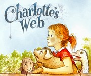 Cartoon Spider Prints - Charlottes Web Print by Elizabeth Coats
