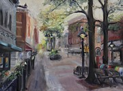 Benches Paintings - Charlottesvilles Historic Downtown Mall by Donna Tuten