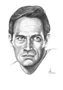 Graphite Portrait Drawings - Charlton Heston by Murphy Elliott