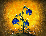Blue Flowers Paintings - Charmed September by Cindy Thornton