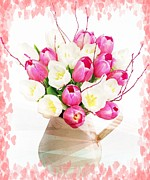 Flower Design Prints - Charming Heart Tulips Print by Debra  Miller