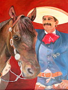 Mexican Horse Paintings - Charro and his Horse by Jodie  Scheller