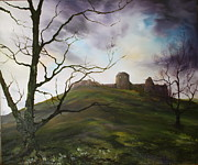 Knights Castle Painting Framed Prints - Chartley Castle near Stafford Framed Print by Jean Walker