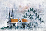 Rebuilt Prints - Chartres Cathedral Print by Catf