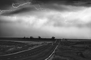 Lightning Bolts Photo Prints - Chasing The Storm - County Rd 95 and Highway 52 - Colorado Print by James Bo Insogna