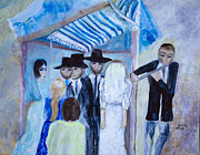 Bride And Groom Paintings - Chassidic Wedding by Aleezah Selinger