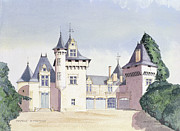 Property Painting Prints - Chateau a Fontaine Print by David Herbert