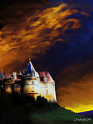 Chateau Mixed Media Prints - Chateau au Crepuscule Print by Chris Knights
