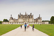 Centre Photo Framed Prints - Chateau Chambord and Cyclists Framed Print by Colin and Linda McKie
