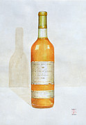Red Wine Bottle Painting Posters - Chateau d Yquem Poster by Lincoln Seligman