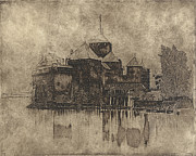Chateau Mixed Media Prints - Chateau de Chillon in the negative Print by Gary Auerbach