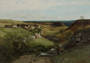 Signed Prints Prints - Chateau dOrnans Print by Gustave Courbet