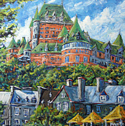 Canadian Painting Framed Prints - Chateau Frontenac by Prankearts Framed Print by Richard T Pranke