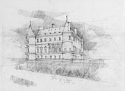 European Artwork Drawings Prints - chateau of Rambouillet Print by Peut Etre