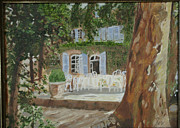 South Of France Painting Originals - Chateaux de Varenne by Rex Maurice Oppenheimer