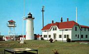 Cape Cod Lighthouses Posters - Chatham Light 1950 Poster by Skip Willits