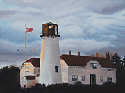 Storm Clouds Cape Cod Painting Framed Prints - Chatham Lighthouse Framed Print by Sue Birkenshaw