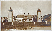 Cape Cod Mass Art - Chatham Twin Lights 1908-18 by Skip Willits