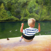 Child Swinging Paintings - Chattahoochee Swinging by Robin Chaffin