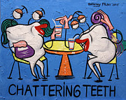 Large Digital Art Posters - Chattering Teeth Poster by Anthony Falbo