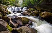 Western Nc Framed Prints - Chattooga River Potholes Waterfall Highlands NC - The Artists Hand Framed Print by Dave Allen