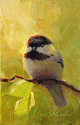 Chatty Framed Prints - Chatty Chickadee - Cheeky Bird Framed Print by Karen Whitworth
