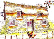Country Cottage Drawings Prints - Chaumiere with hens Print by Anne Dalton