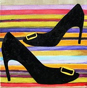 Designer Clothes Paintings - Chaussures au Printemps  ... French Heels in the Spring by Cecely Bloom